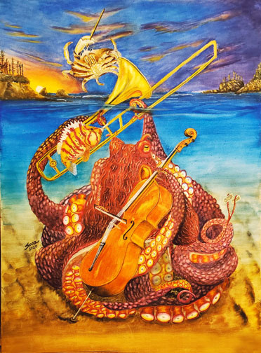 """Tucker and Octavius perform their duet """"The Solemn Sounds of Sunset Bay"""" Clarence the Crab, conductor."""